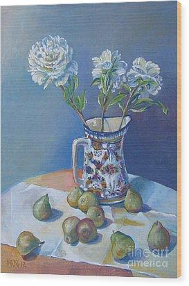 pears and Talavera table pitcher Wood Print by Vanessa Hadady BFA MA