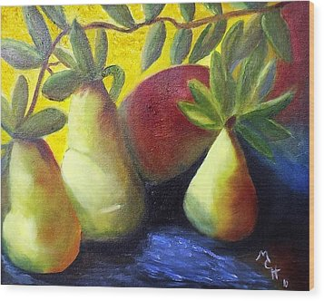Wood Print featuring the painting Pears In Sunshine by Margaret Harmon