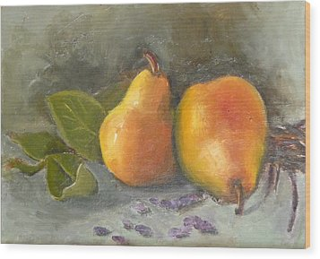 Pears Leaves And Petals Wood Print