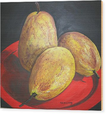 Pears On Red Plate Wood Print