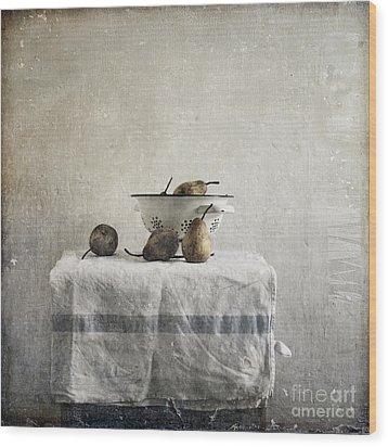 Pears Under Grunge Wood Print by Paul Grand