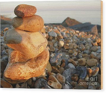 Pebbles Wood Print by Spice