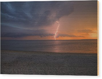 Peconic Bay Lightening Wood Print by Steve Gravano