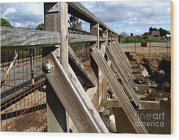 Pedestrian Bridge At Point Isabel In Richmond California . 7d15084 Wood Print by Wingsdomain Art and Photography