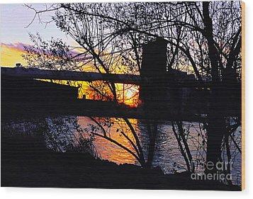 Peeking At The Bridge Wood Print by Kendall Eutemey