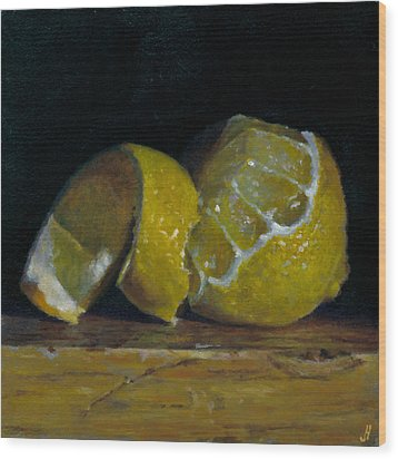 Peeled Lemon Wood Print by Jeffrey Hayes