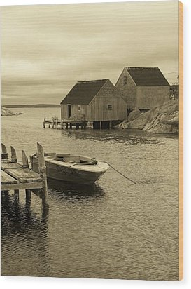 Peggys Cove In Sepia Wood Print by Richard Bryce and Family