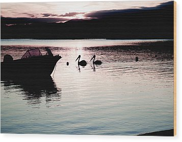 Wood Print featuring the photograph Pelican Boat. by Carole Hinding