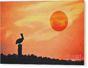 Wood Print featuring the photograph Pelican During Hot Day by Dan Friend