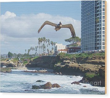 Wood Print featuring the photograph Pelican Flight by Jasna Gopic