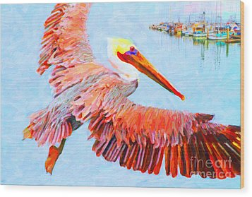 Pelican Flying Back To The Docks Wood Print by Wingsdomain Art and Photography