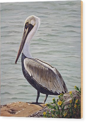 Wood Print featuring the painting Pelican On The Waterway by Jimmie Bartlett