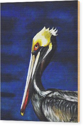 Pelican Portrait Wood Print by Kim Selig
