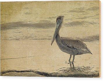 Pelican Wood Print by Rebecca Cozart