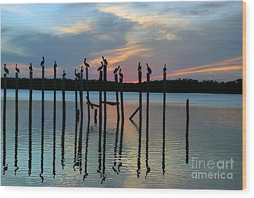 Wood Print featuring the photograph Pelican Resting End Of Day by Dan Friend