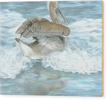 Pelican Surf Wood Print
