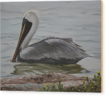 Wood Print featuring the painting Pelican Swim by Jimmie Bartlett