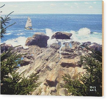 Wood Print featuring the digital art Pemaquid Point by Richard Stevens