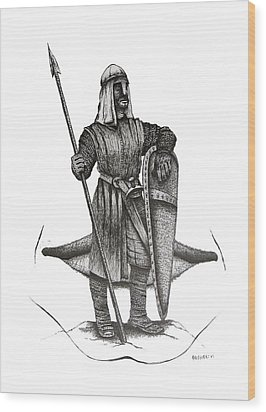 Pen And Ink Drawing Of The Guardian Wood Print by Mario Perez