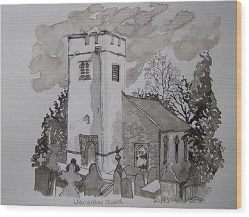 Pen And Ink-llanarthne Church-01 Wood Print by Pat Bullen-Whatling