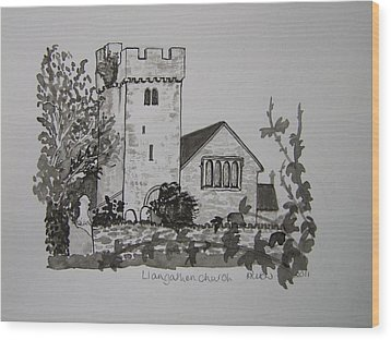 Pen And Ink-llangathen Church-02 Wood Print by Pat Bullen-Whatling
