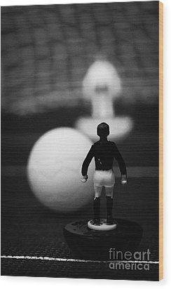Penalty Kick Football Soccer Scene Reinacted With Subbuteo Table Top Football Players Game Wood Print by Joe Fox