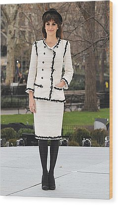 Penelope Cruz Wearing A Chanel Suit Wood Print by Everett