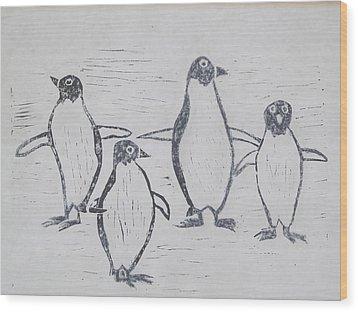 Penguins Wood Print by Tina M Wenger
