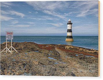 Penmon Point Lighthouse Wood Print by Adrian Evans