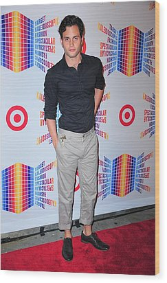 Penn Badgley In Attendance For Target Wood Print by Everett