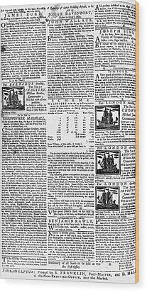 Pennsylvania Gazette, C1749 Wood Print by Granger