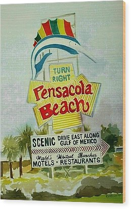 Wood Print featuring the painting Pensacola Beach Sign by Richard Willows