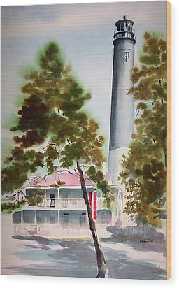 Wood Print featuring the painting Pensacola Light by Richard Willows