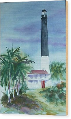 Wood Print featuring the painting Pensacola Lighthouse by Richard Willows