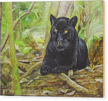 Pensive Panther Wood Print by Maureen Pisano