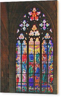 Pentecost Window - St. Vitus Cathedral Prague Wood Print by Christine Till