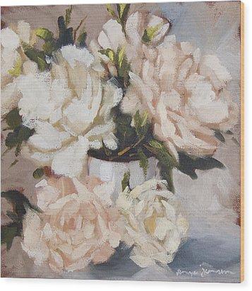 Peonies In White Vase Wood Print