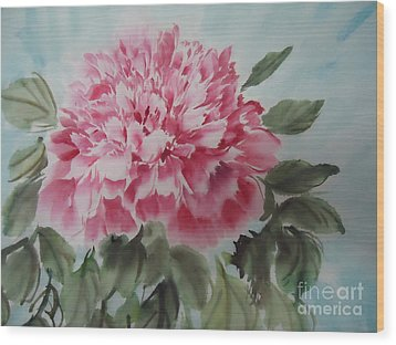 Wood Print featuring the painting Peony --2--2012 by Dongling Sun