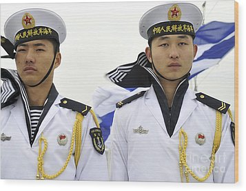 Peoples Liberation Army Navy Sailors Wood Print by Stocktrek Images
