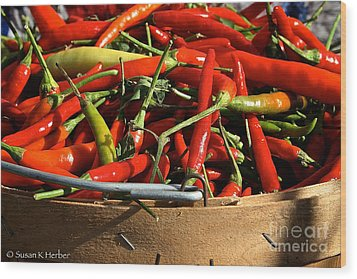 Peppers And More Peppers Wood Print by Susan Herber