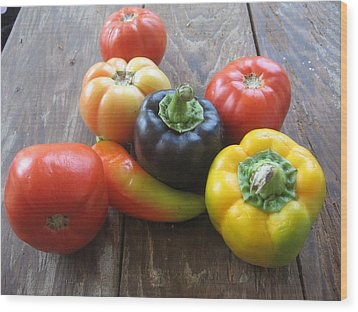 Peppers And Tomatoes Wood Print