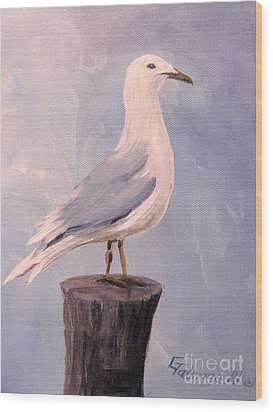 Wood Print featuring the painting Perched Seagull by Gretchen Allen