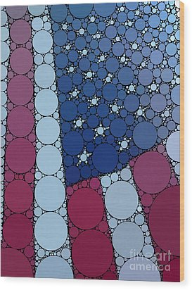 Percolated American Flag Wood Print by Christine Segalas
