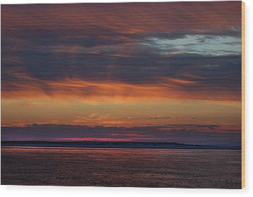 Perdido Pass Red Sunrise Wood Print by Michael Thomas