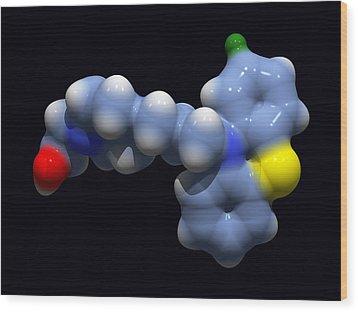 Perphenazine Antipsychotic Drug Wood Print by Dr Tim Evans