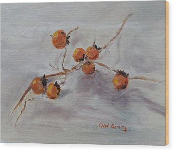 Persimmons Wood Print by Carol Berning