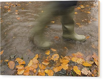 Person In Motion Walks Through Puddle Wood Print by John Short