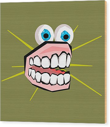 Personality Teeth Wood Print by Jera Sky