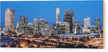 Wood Print featuring the photograph Perth City Night View From Kings Park by Yew Kwang