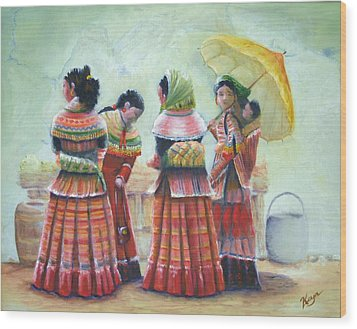Peruvian Ladies Wood Print by Catherine Link